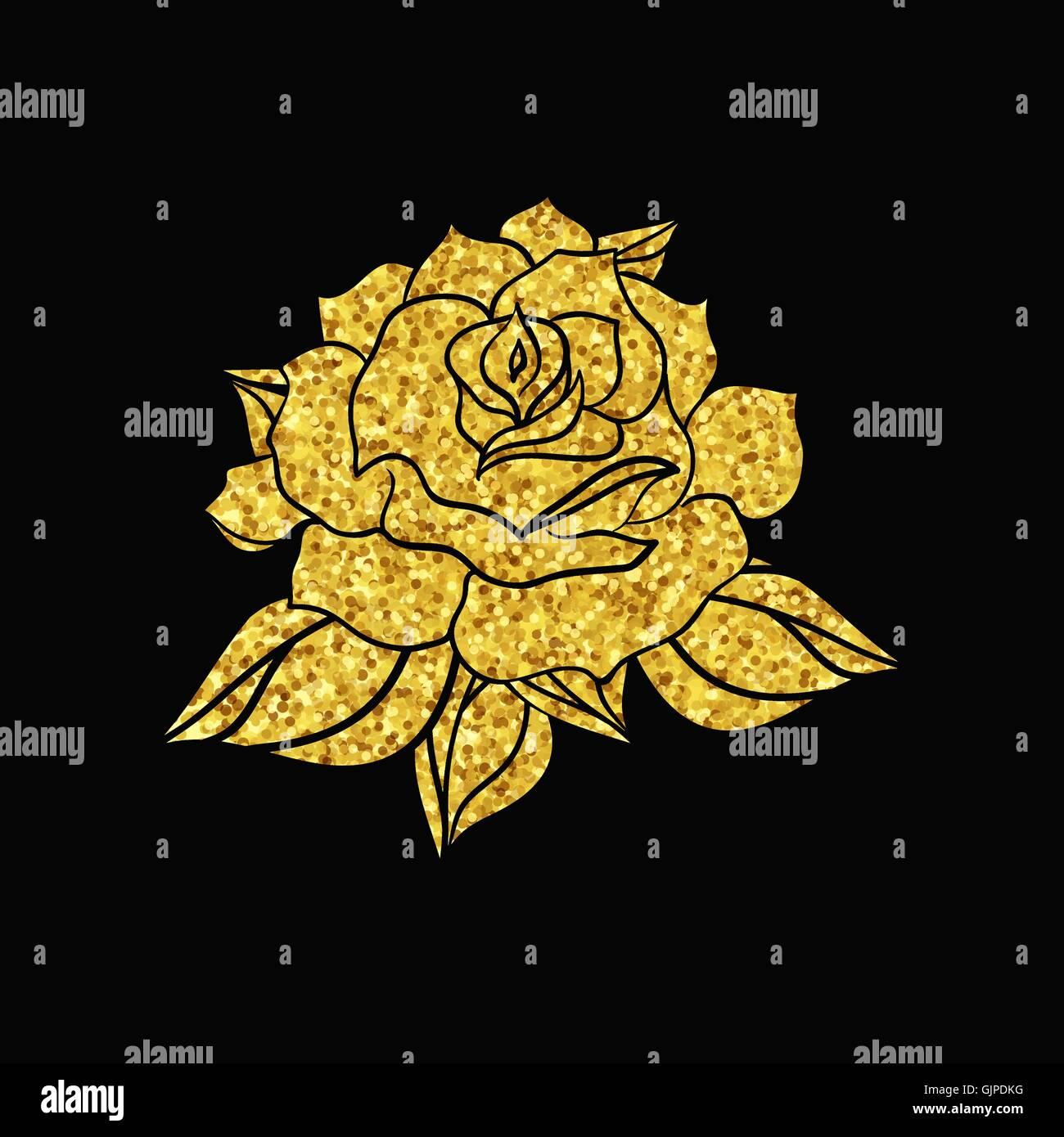 Dibujados A Mano De Bodas De Oro Rosa Plantilla De Flores Para