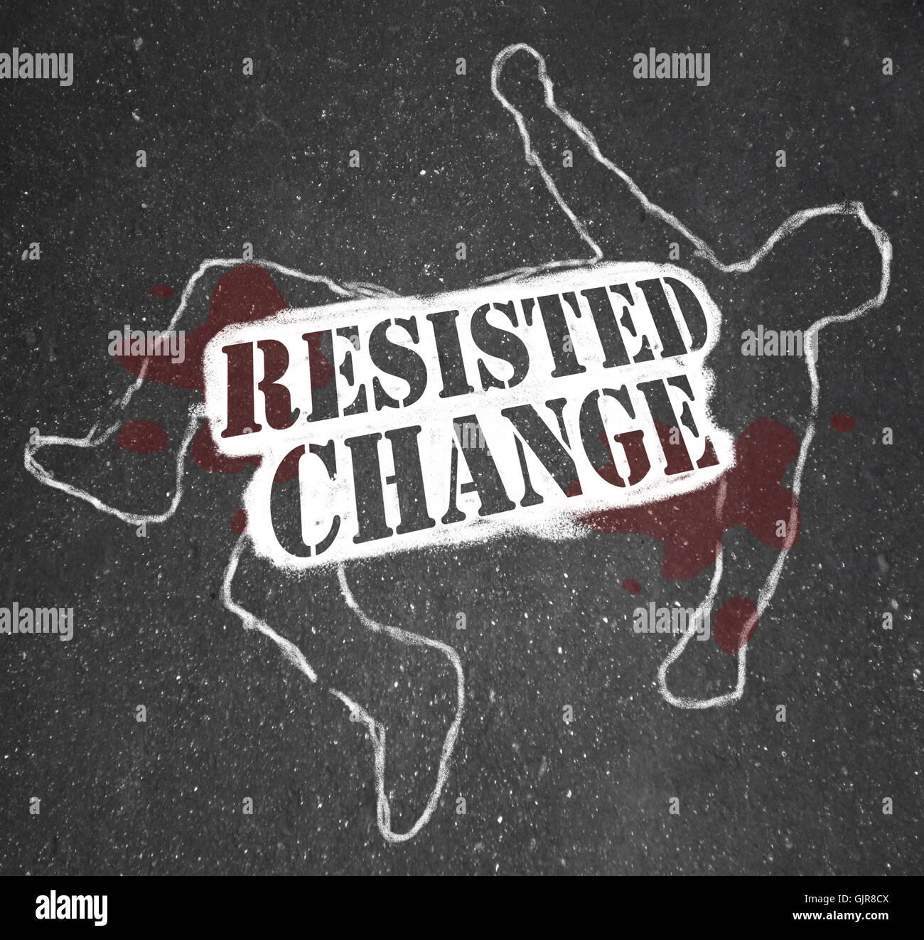 Resiste el cambio conduce a la obsolescencia o la muerte Imagen De Stock