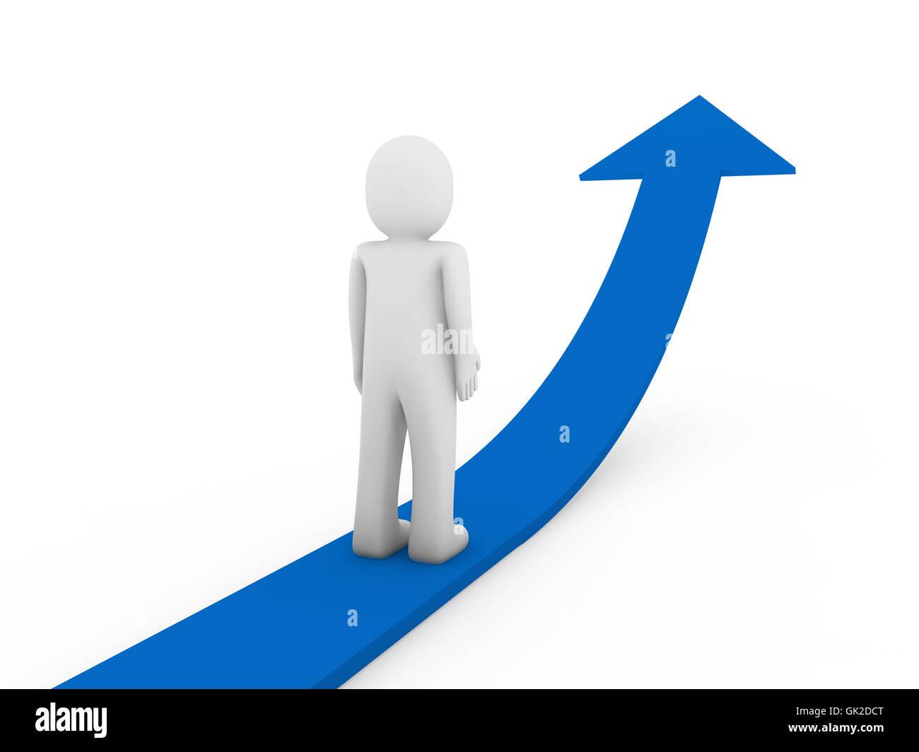 3d flecha azul crecimiento humano Imagen De Stock