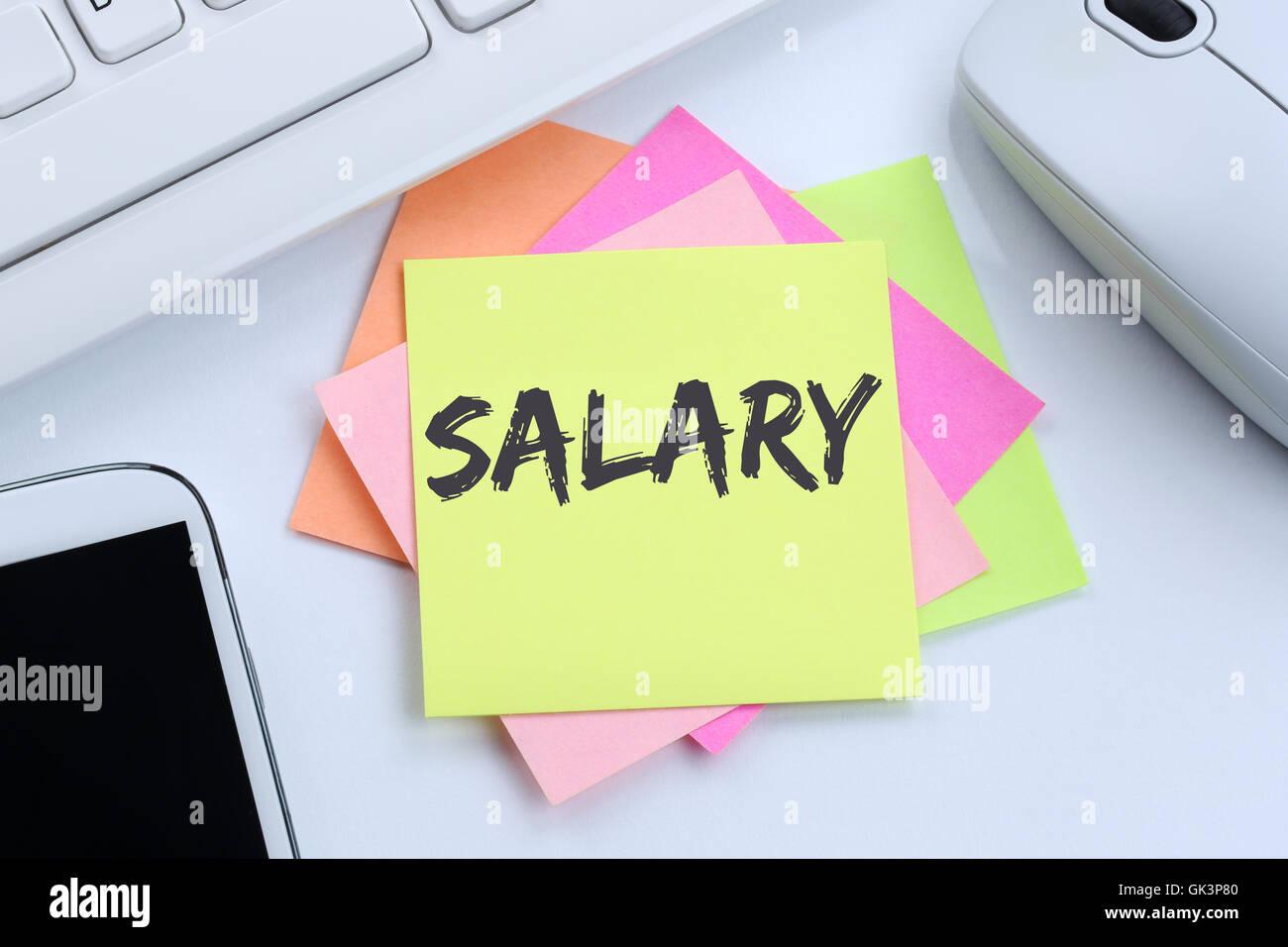 Aumento de sueldo negociación salarial concepto de negocio de finanzas dinero del teclado de la computadora Imagen De Stock