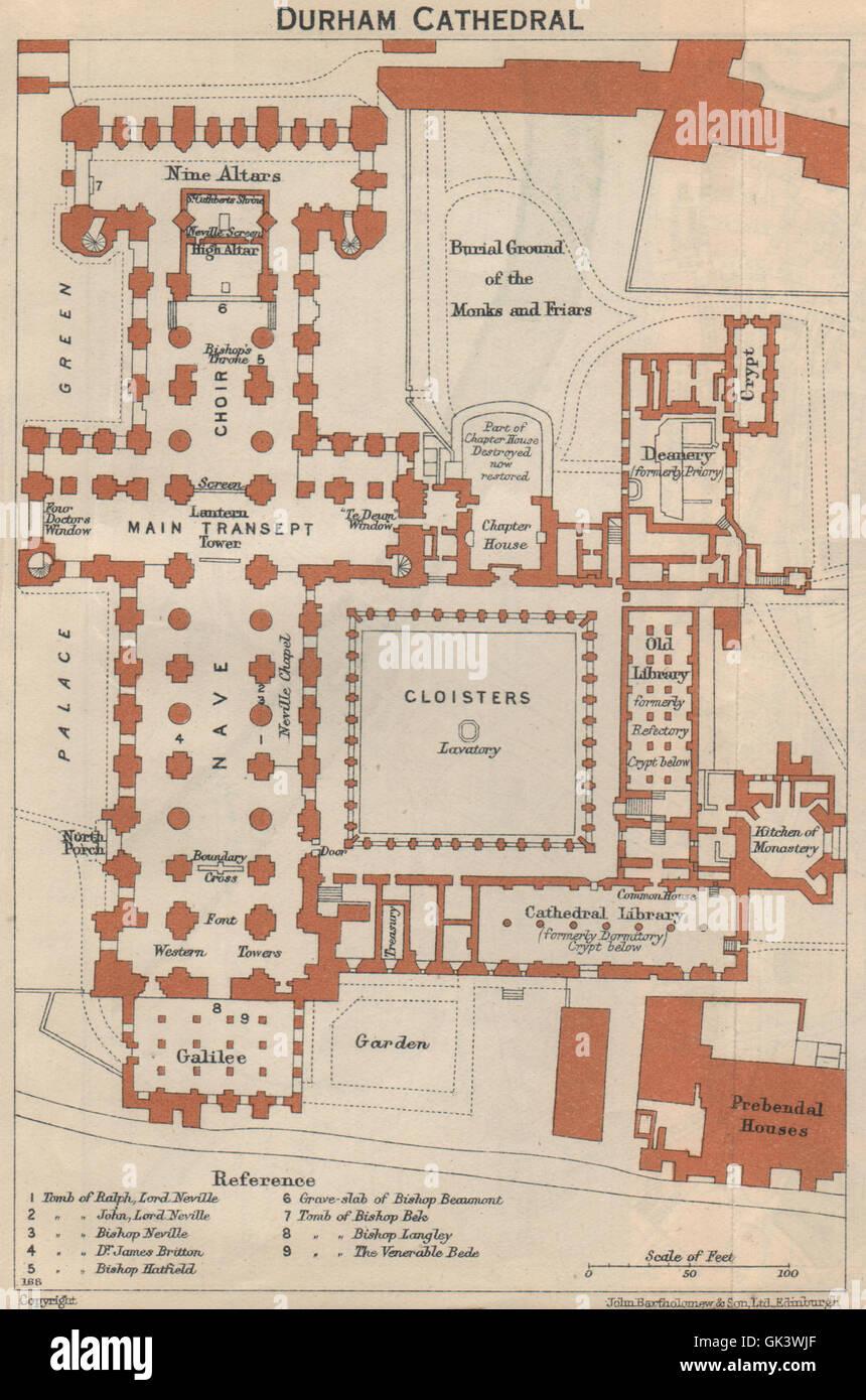 La Catedral De Durham Vintage Floor Plan 1939 Vintage Mapa Fotografía De Stock Alamy