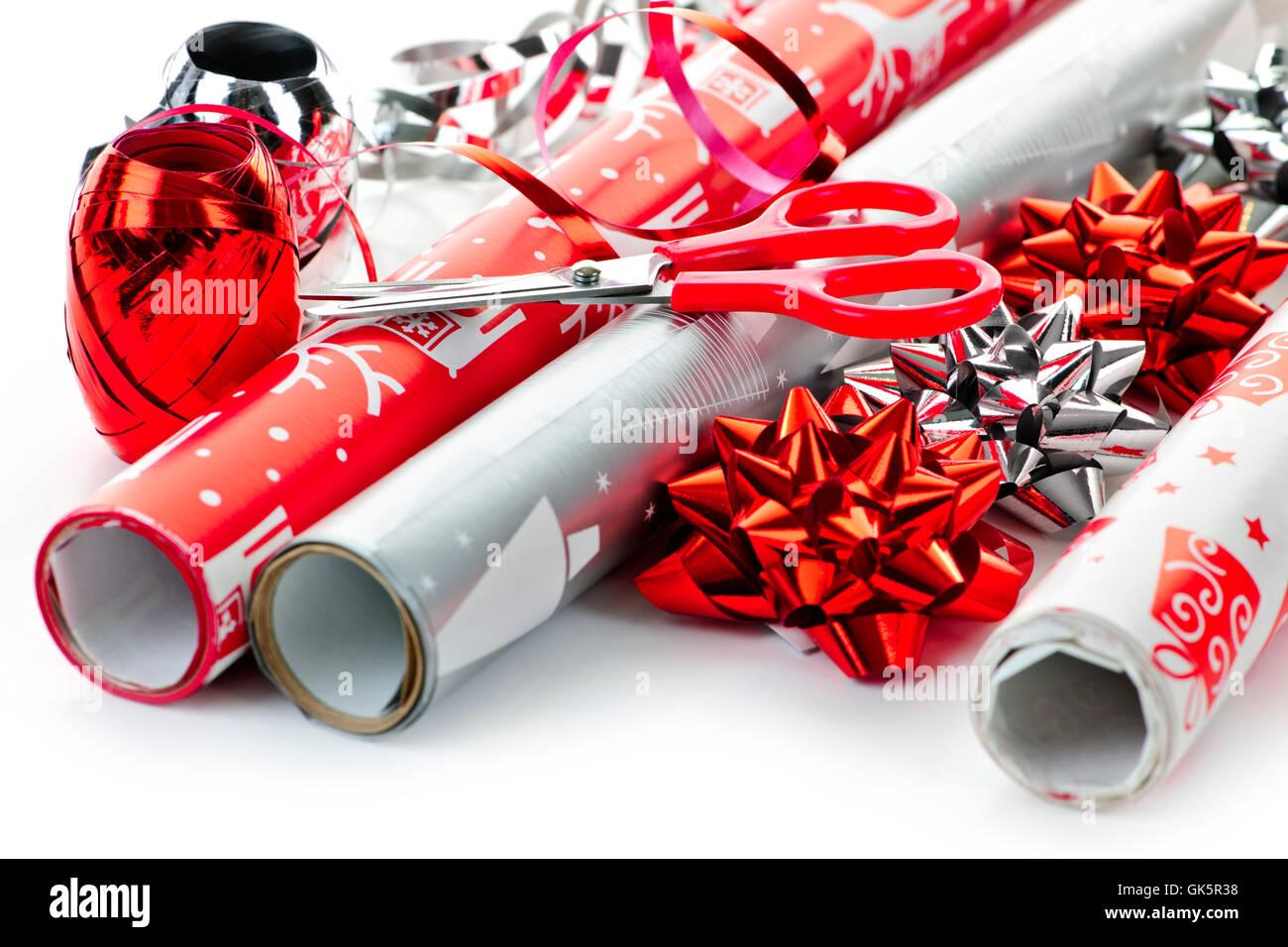 Envoltura de papel de regalo de navidad Imagen De Stock
