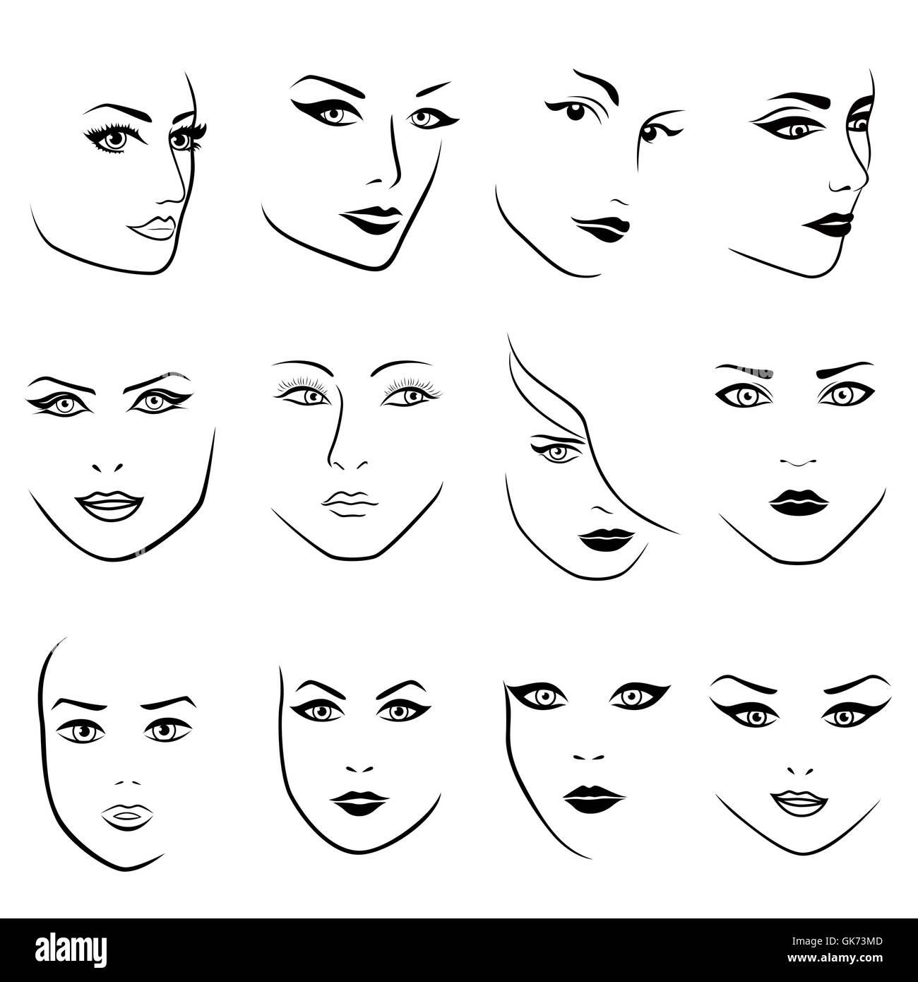 Conjunto de 12 jóvenes caras de diversos caracteres dibujo a mano alzada contornos vectoriales aislado en el fondo blanco