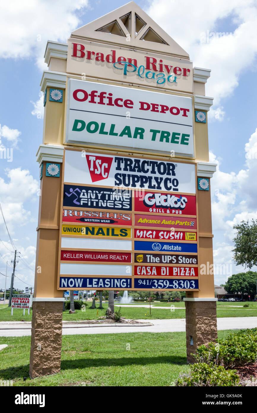 Bradenton Florida Braden River Plaza strip Mall Shopping Plaza firmar  carteles propiedad comercial Pylon firmar Imagen 0bd09cfed040