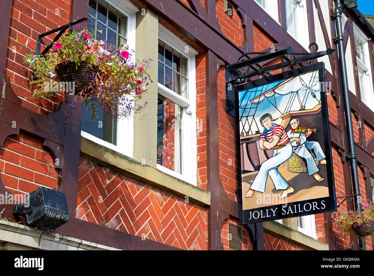 Señal para el el pub Jolly Sailor, Whitby, North Yorkshire, Inglaterra Imagen De Stock