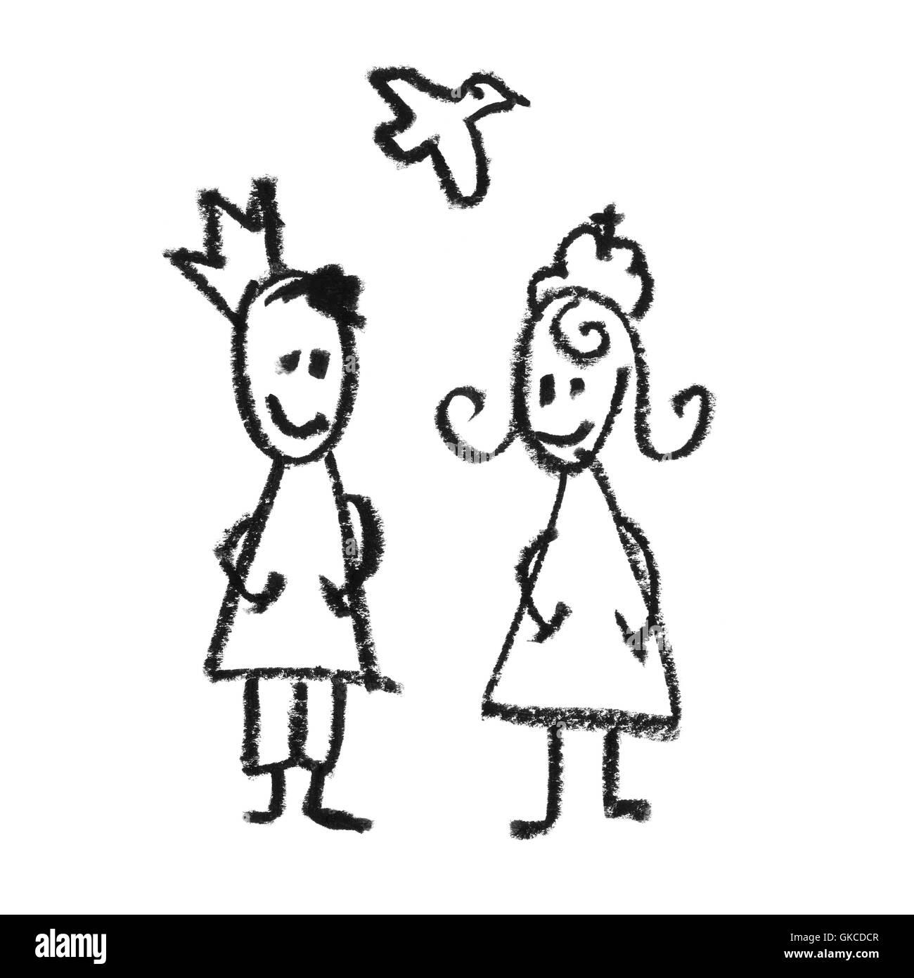 El Rey Y La Reina Con El Flying Dove Garabatos Dibujo Foto Imagen