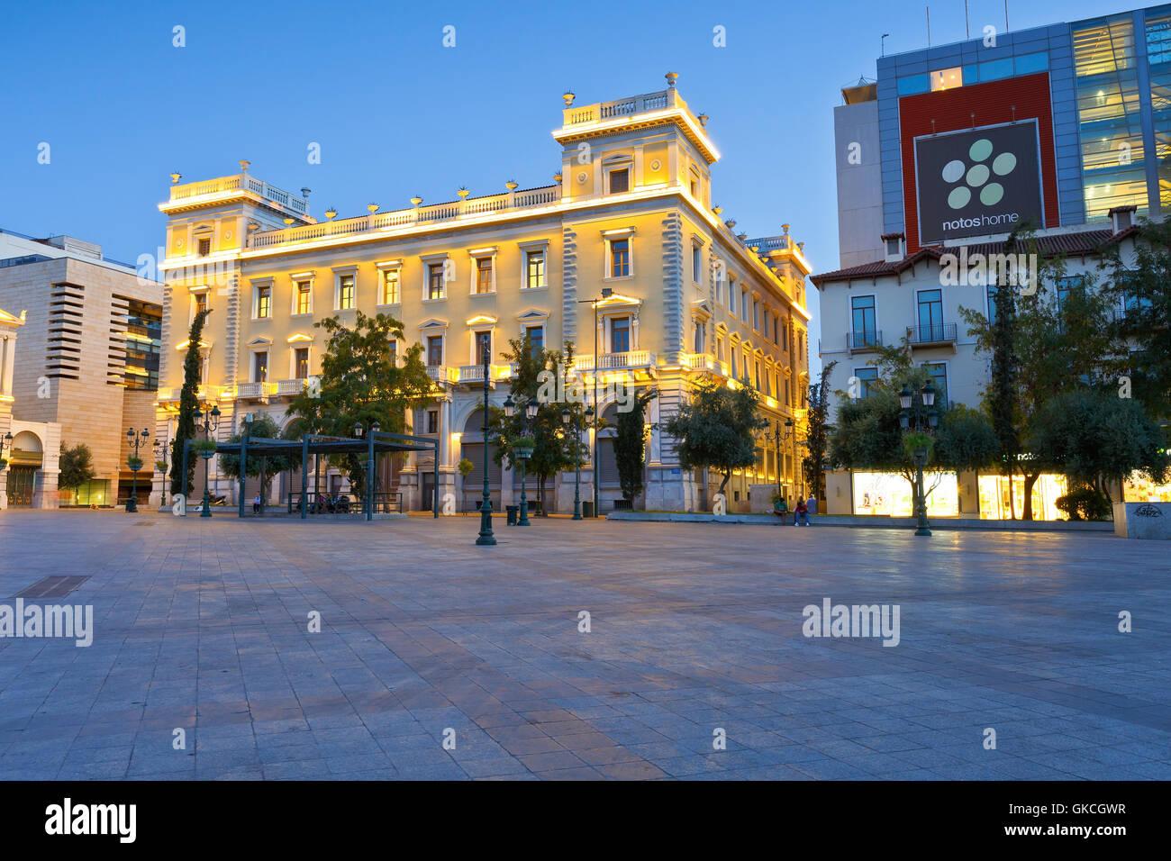 Edificio del Banco Nacional de Grecia en la Plaza Kotzia, Atenas. Imagen De Stock