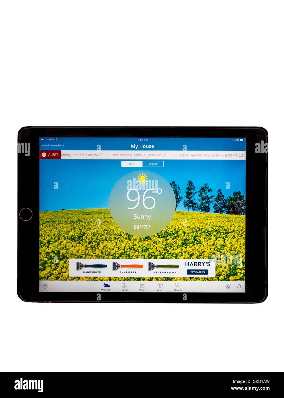 El Weather Channel, como se ha visto en un iPad aire. Mostrando el clima de la ciudad de Oklahoma. Oklahoma, EE. Imagen De Stock