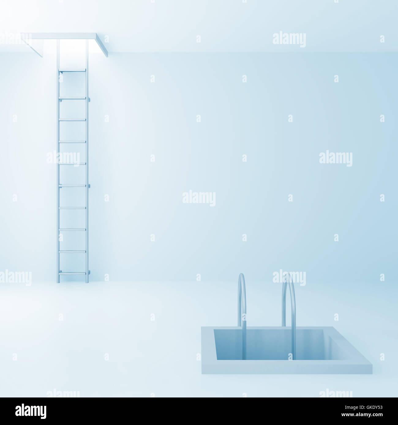 Escaleras arriba y abajo en una luminosa sala Imagen De Stock