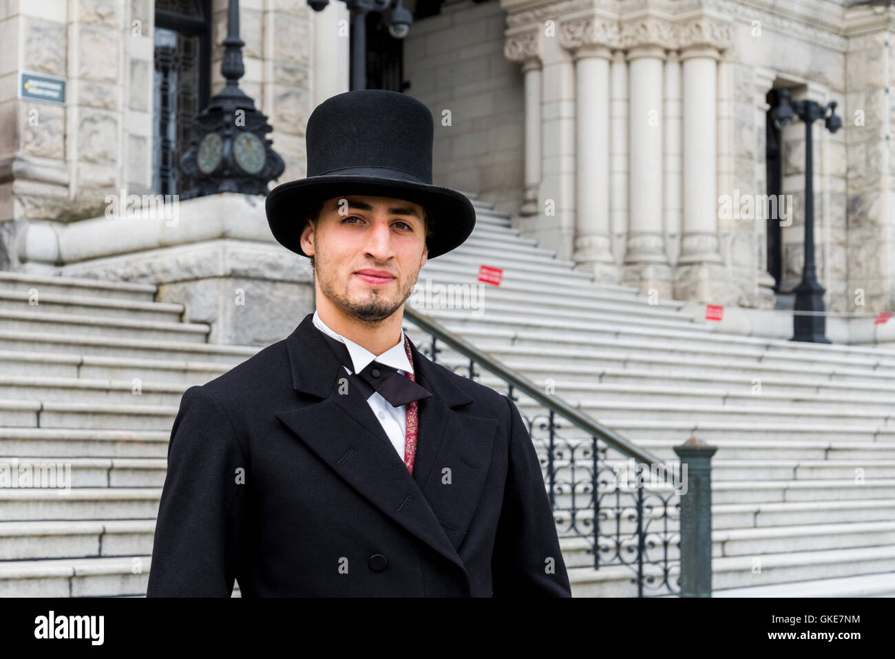 Actor retratando Premier Amor de Cosmos, British Columbia, legislativo, Victoria, British Columbia, Canadá Imagen De Stock
