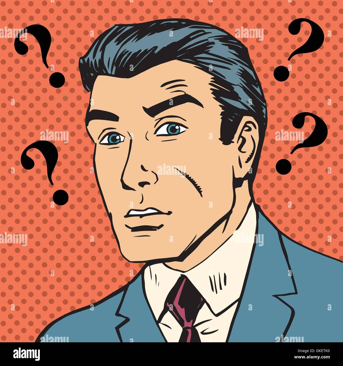 Signos de interrogación macho malentendido Enigma hombres pop art comics r Ilustración del Vector