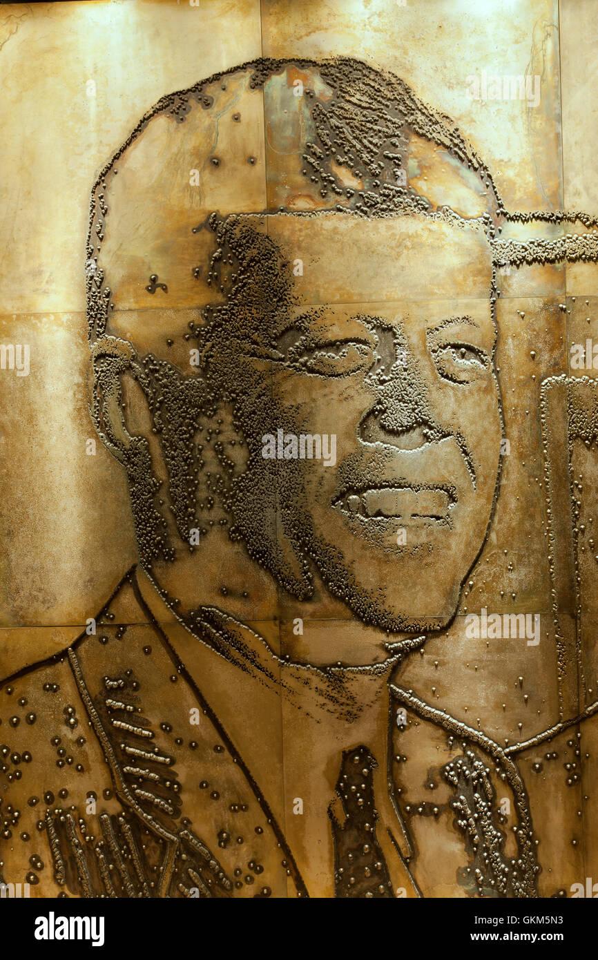 John F. Kennedy, grabado placa de magnesio, el Gran Hall. Museo de LBJ. Imagen De Stock