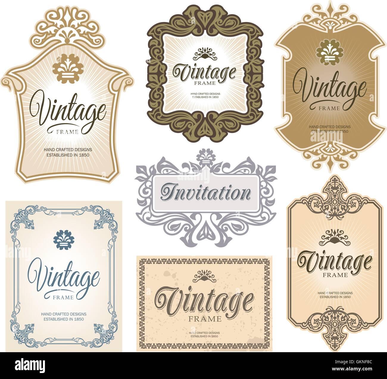 Decoración vintage retro vector signo etiqueta frame diseño