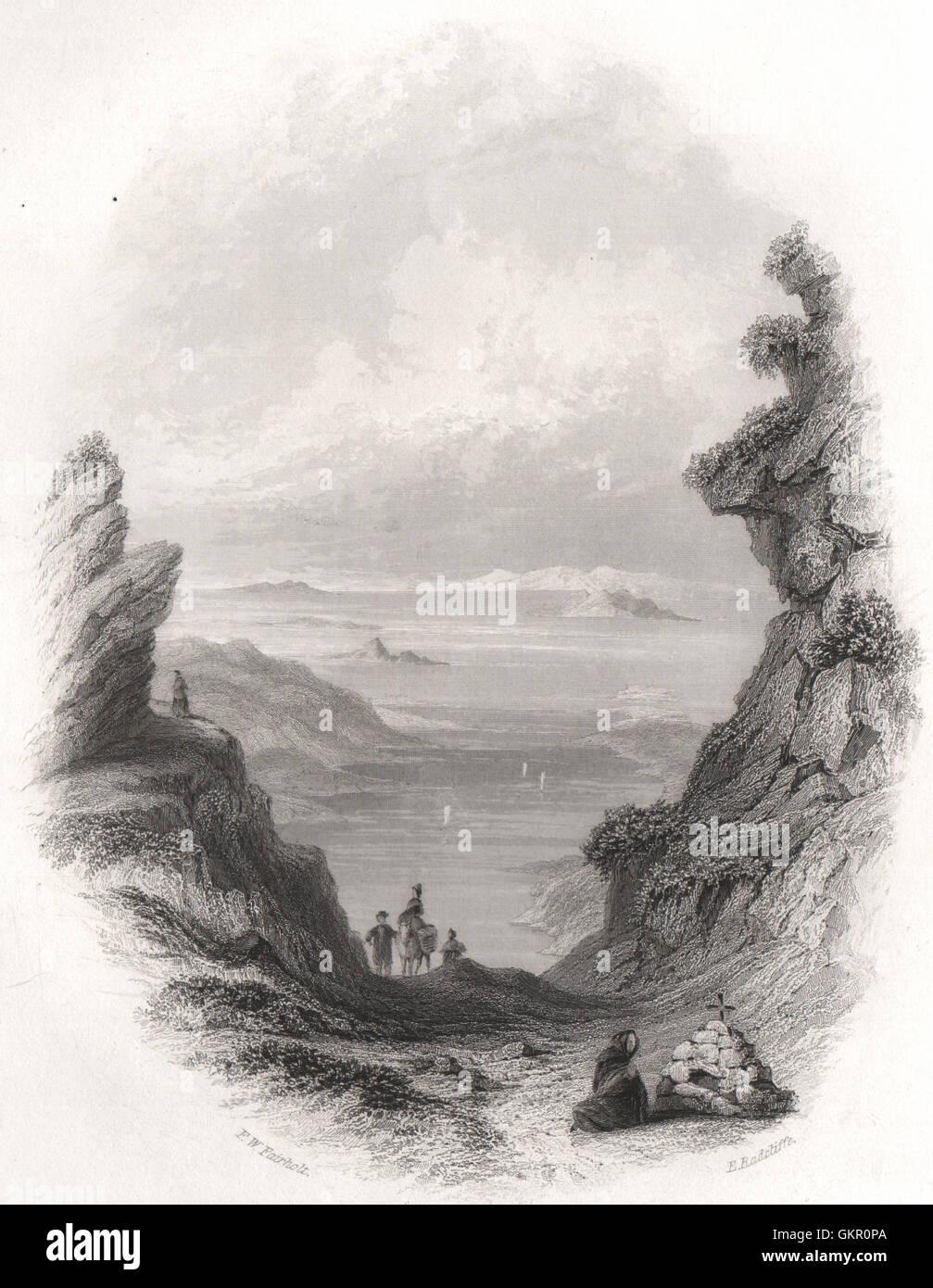 Pase de Salrock Salruc (PASS), Galway. Irlanda, grabado antiguo 1835 Imagen De Stock