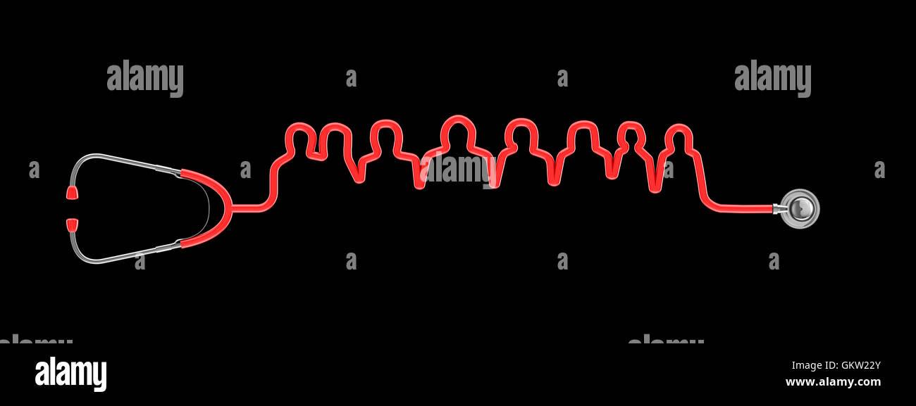 Estetoscopio equipo médico / 3D ilustración del estetoscopio tubos formando grupos de personas Imagen De Stock