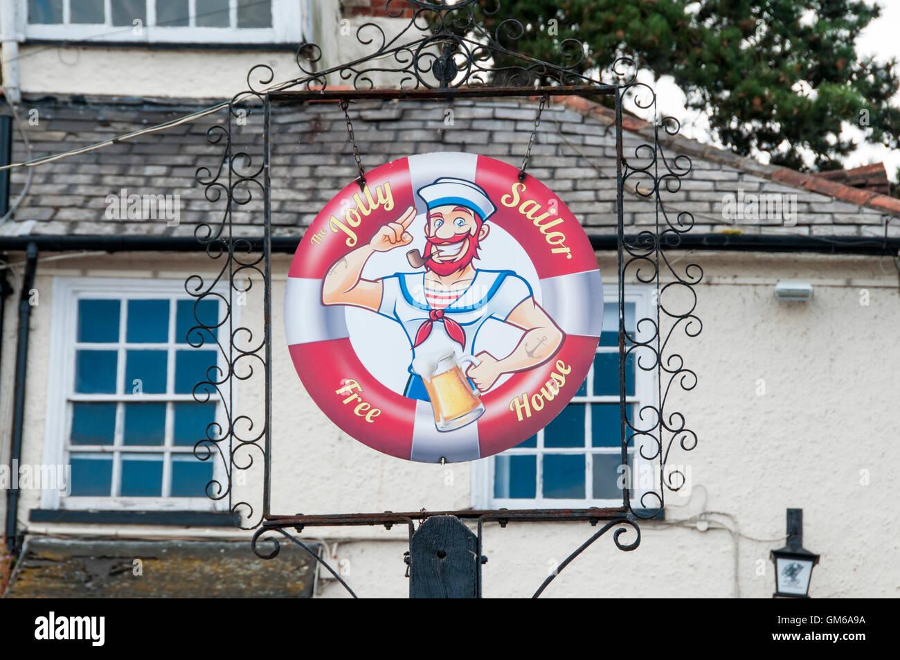 Señal para el pub Jolly Sailor en Maldon, Essex. Imagen De Stock