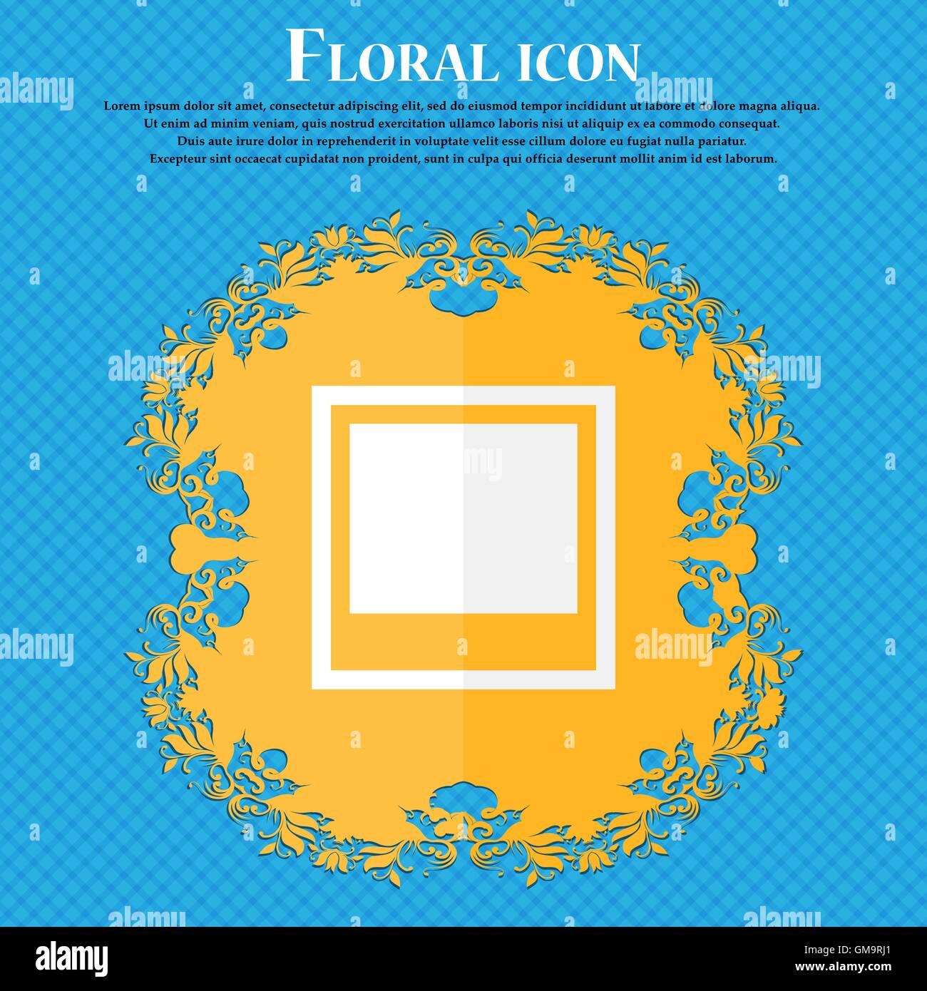 Marco de fotos de la plantilla . Diseño plano florales sobre un ...