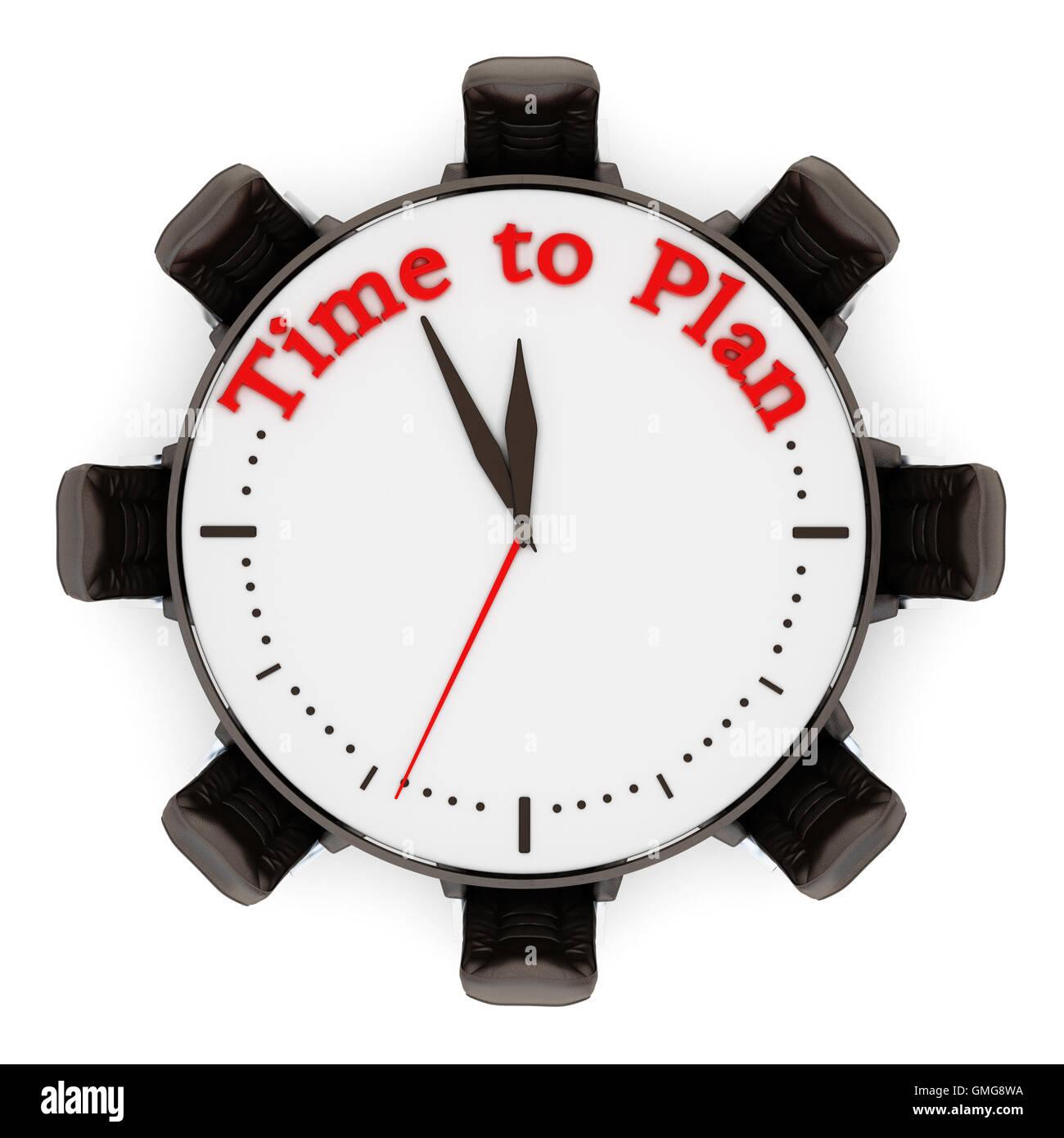Tiempo para planificar la pena en el reloj con sillas. Ilustración 3D. Imagen De Stock