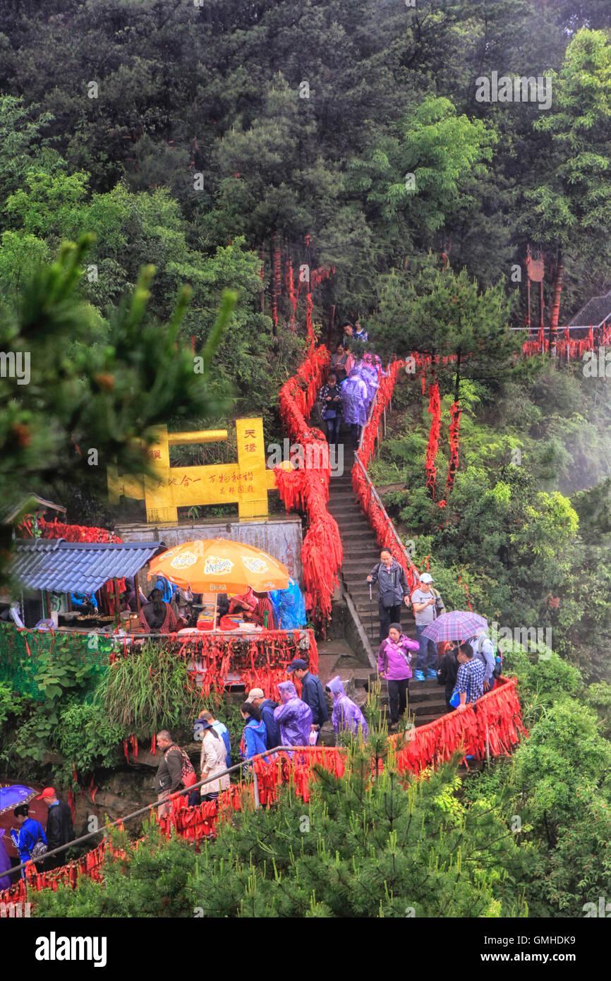 Los turistas en el Parque Forestal Nacional de Zhangjiajie, china de Hunan Foto de stock