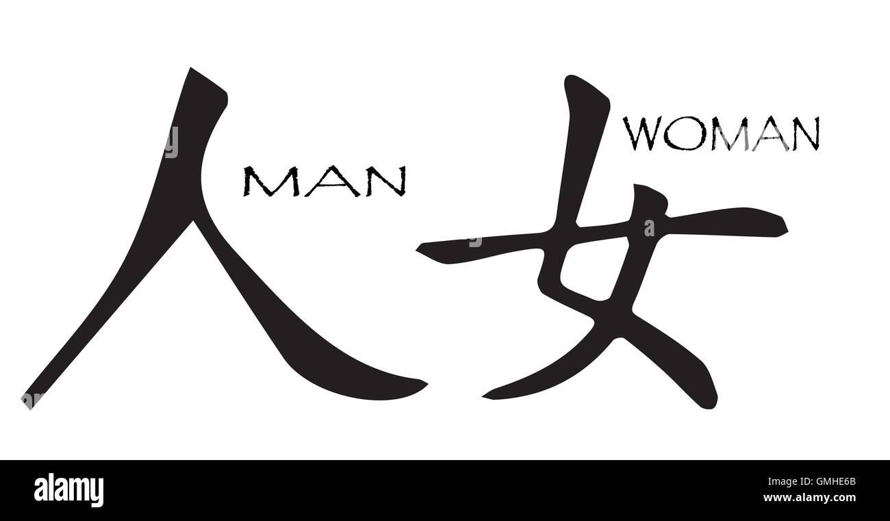 Símbolo Chino Hombre Mujer Ilustración Del Vector Imagen 115939667