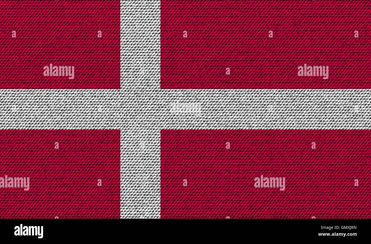 Banderas de Dinamarca sobre denim textura. Vector Ilustración del Vector