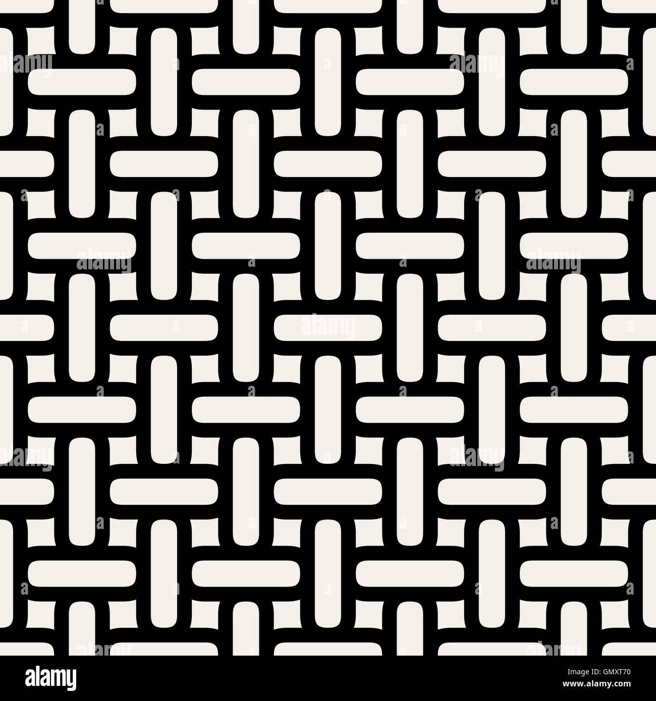 Seamless Vector Blanco y Negro entrelazado líneas redondeadas patrón de cuadrícula Imagen De Stock