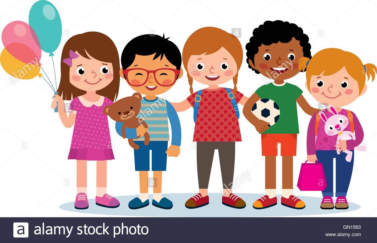 Grupo De Niños De Diferentes Nacionalidades Colorear: Grupo De Niños Felices De Diferentes Nacionalidades
