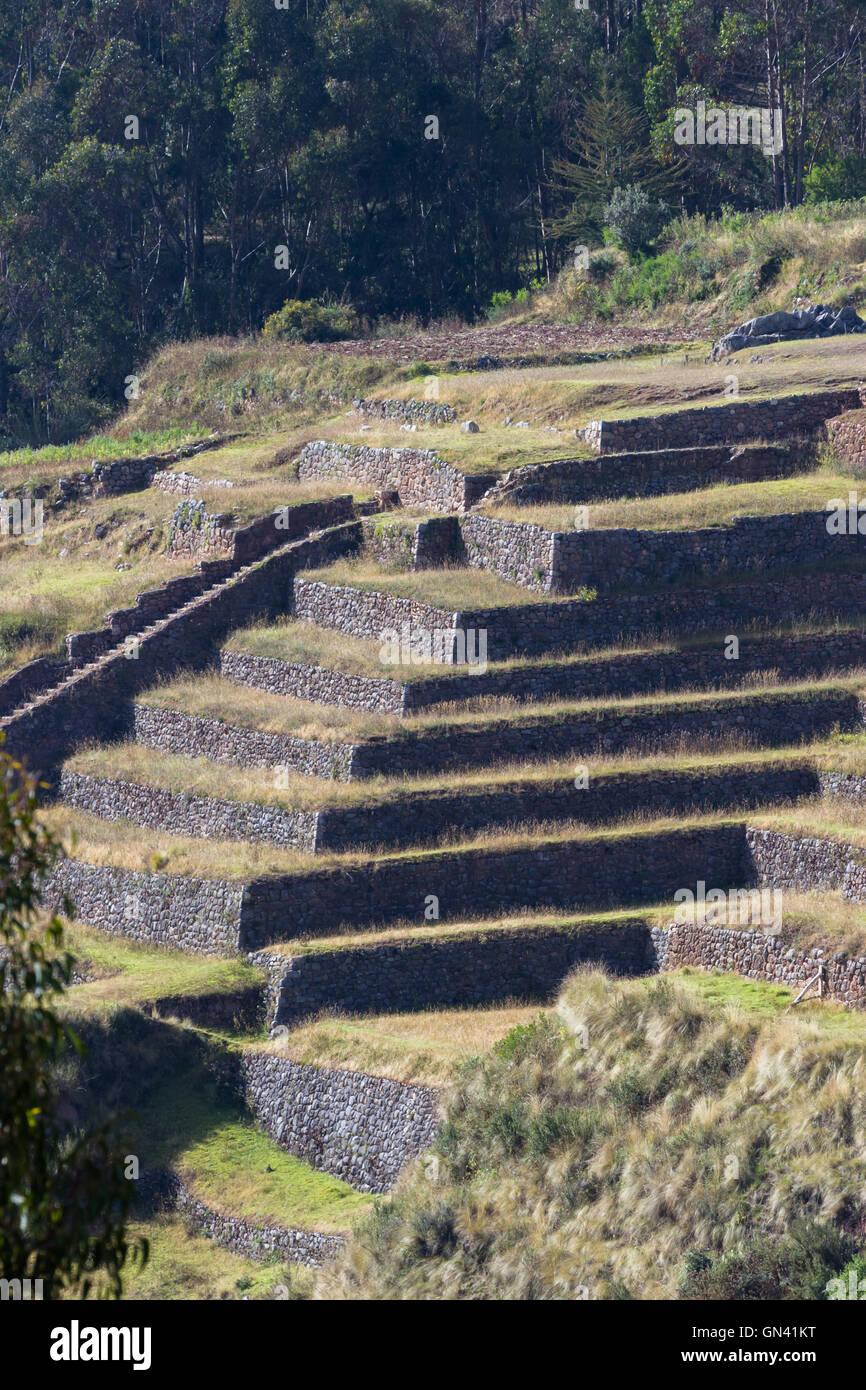 Cerrar Paisaje De Terrazas De Cultivo Inca Tradicional En