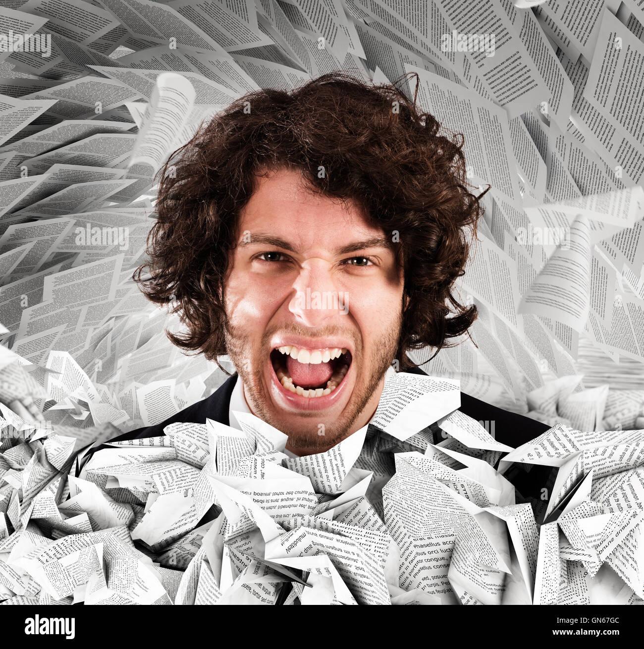 Subrayó gritando por exceso de trabajo Imagen De Stock