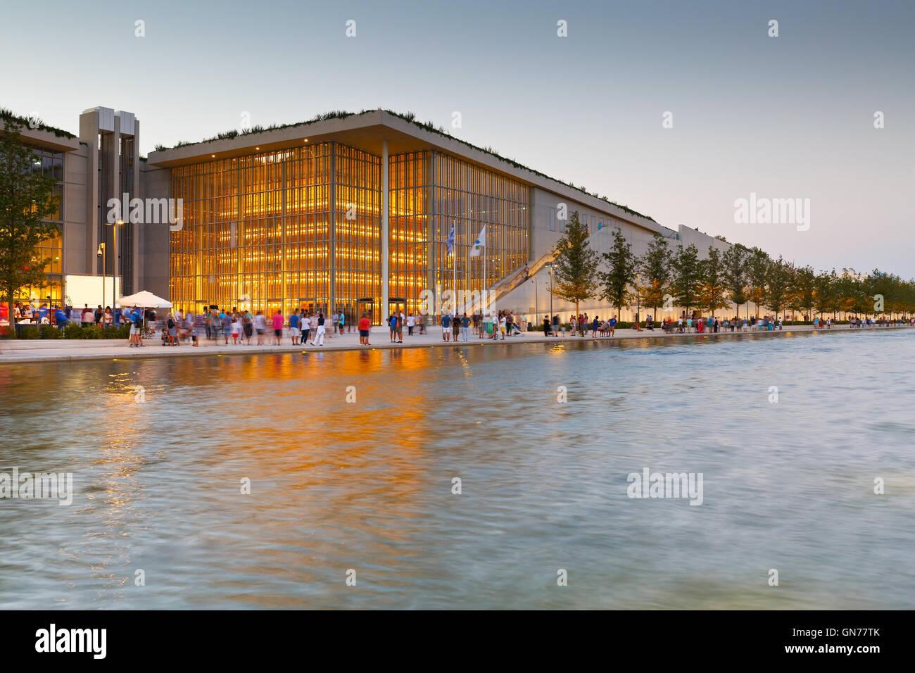 Vista de Stavros Niarchos Foundation Centro Cultural en la ciudad de Atenas. Imagen De Stock
