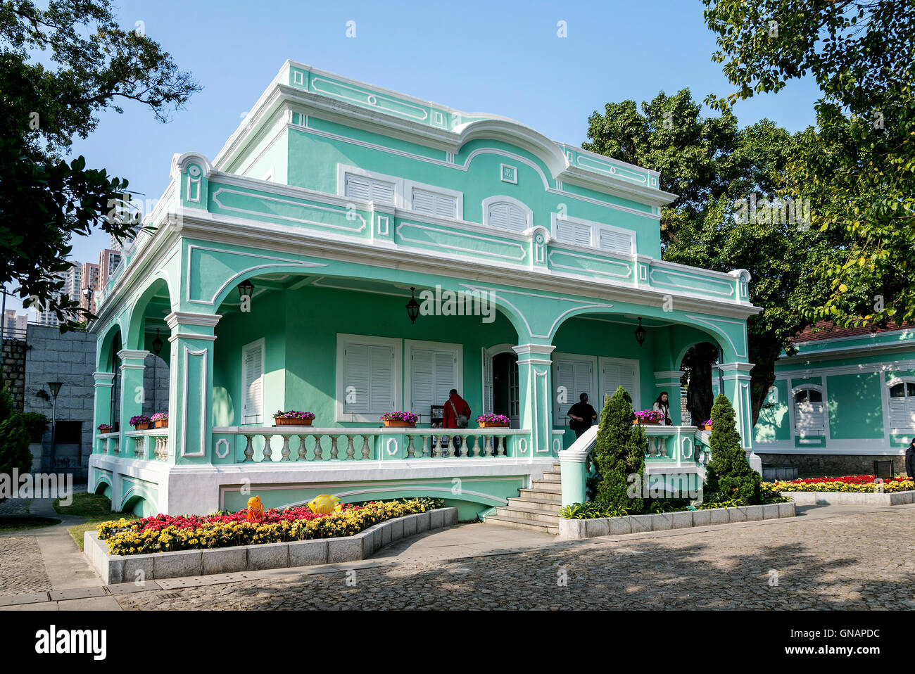 Antiguas mansiones coloniales portugueses atracción turística en la zona de Taipa Macao Macao, China Imagen De Stock