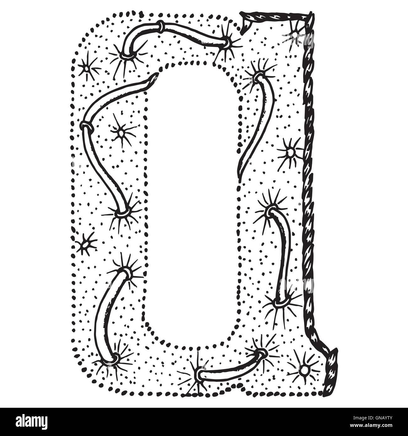 Zentangle letras estilizadas - LETRA A Ilustración del Vector