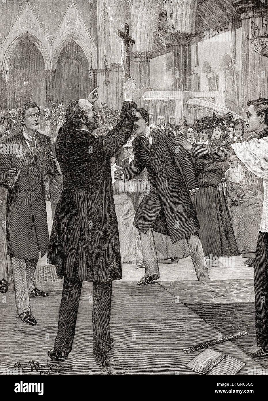 John Kensit protestando contra el ritualismo en 1898. John Kensit, 1853 - 1902. Líder religioso inglés, Imagen De Stock