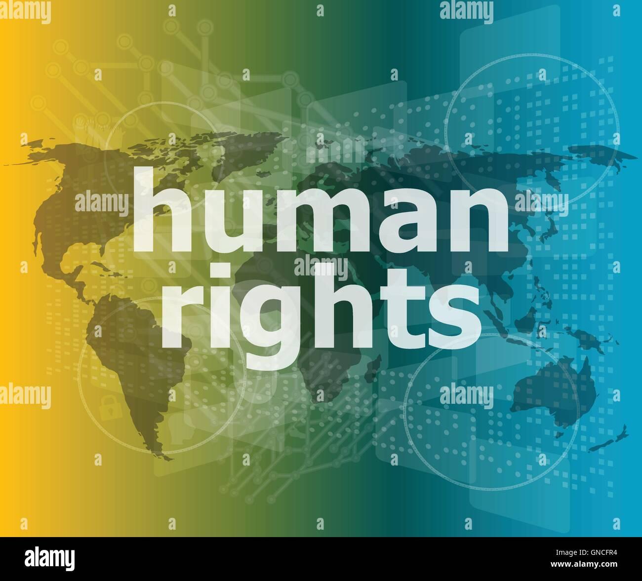 Concepto de Derecho: palabras los derechos humanos en el negocio digital vector fondo comillas con línea delgada discurso burbuja. Concepto de c Ilustración del Vector