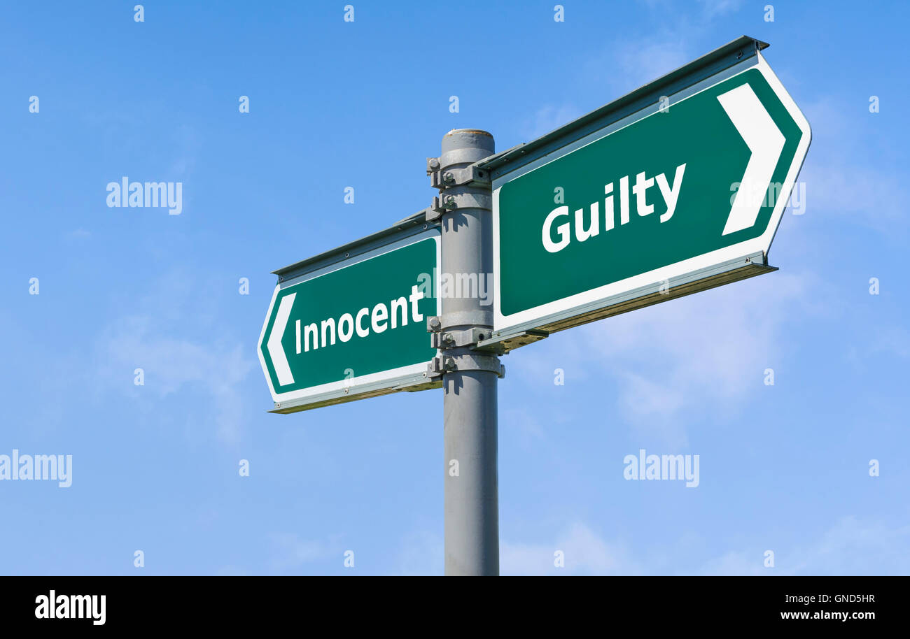 Signo culpable e inocente. Imagen De Stock