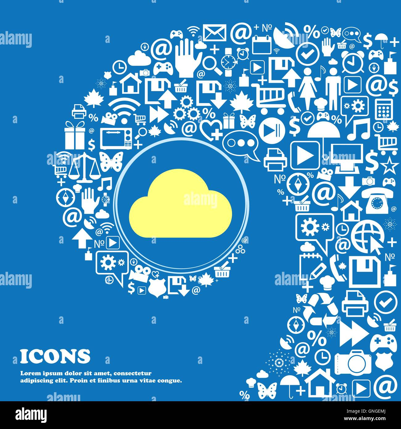 Símbolo de signo de la nube. Buen conjunto de iconos hermosos torcido espiral hacia el centro de un gran icono. Vector Ilustración del Vector