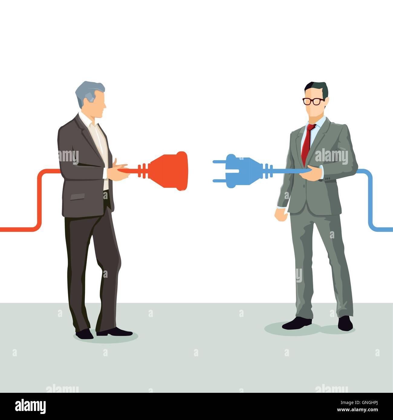 Conectar empresarios de la cooperación Imagen De Stock