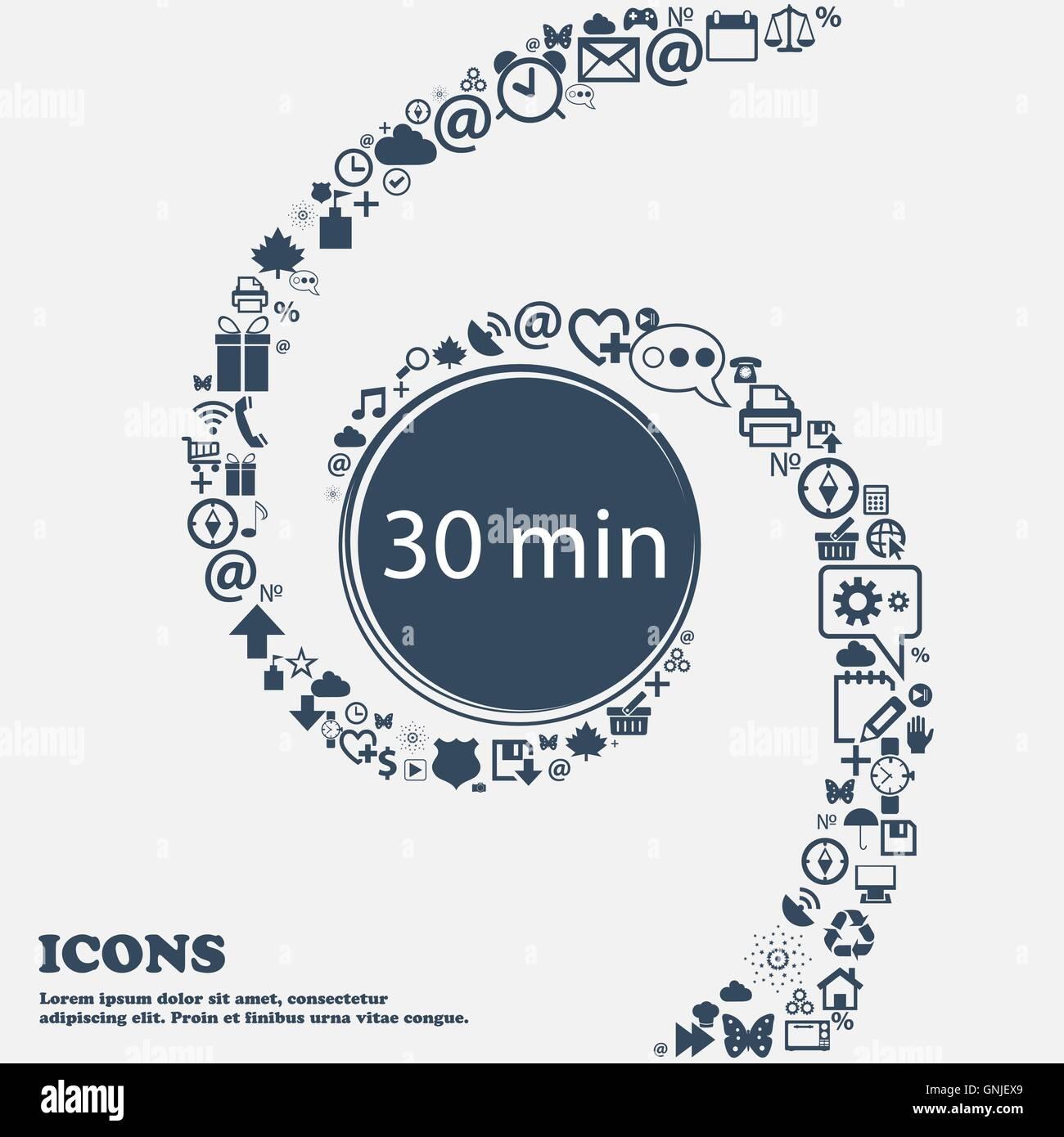 Treinta minutos icono de signo en el centro. Alrededor de los muchos hermosos símbolos tuercen en espiral. Imagen De Stock