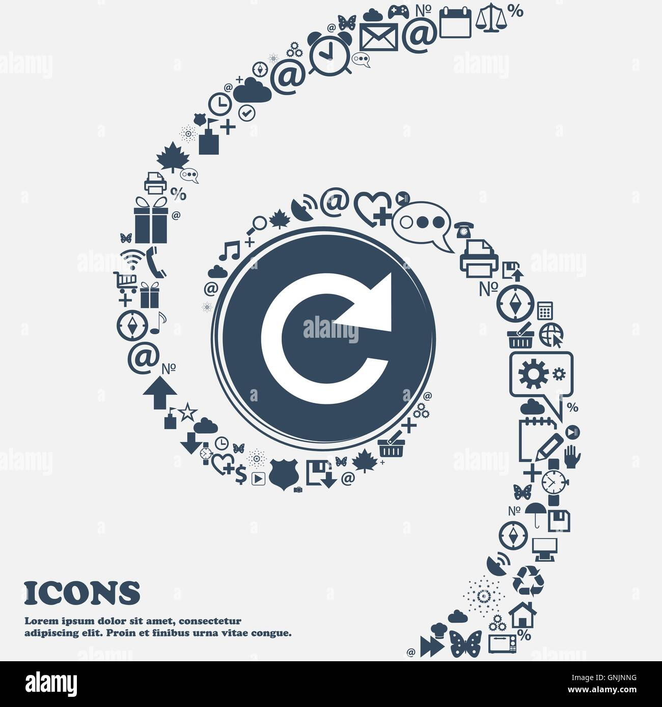 Actualizar icono de signo. El símbolo de la flecha de rotación completa en el centro. Alrededor de los Imagen De Stock