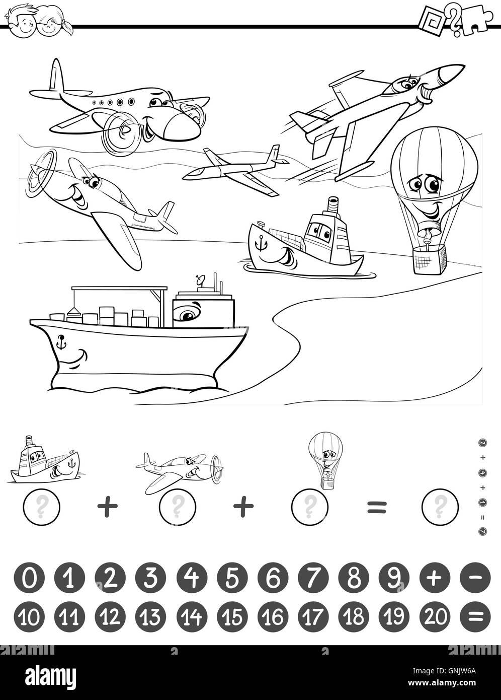 Tarea De Matemáticas Para Colorear Ilustración Del Vector Imagen