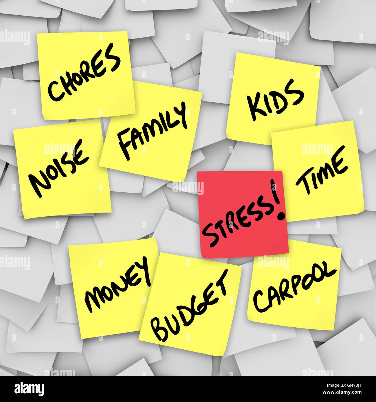 Cargas de estrés Sticky Notes recordatorios de vida estresante Imagen De Stock