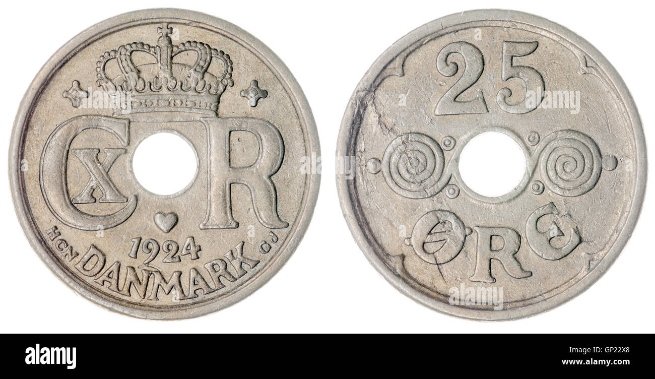 25 1924 monedas de níquel mineral aislado sobre fondo blanco, Dinamarca Foto de stock