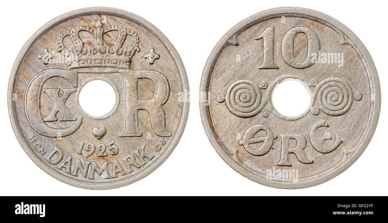 10 1925 monedas de níquel mineral aislado sobre fondo blanco, Dinamarca Foto de stock