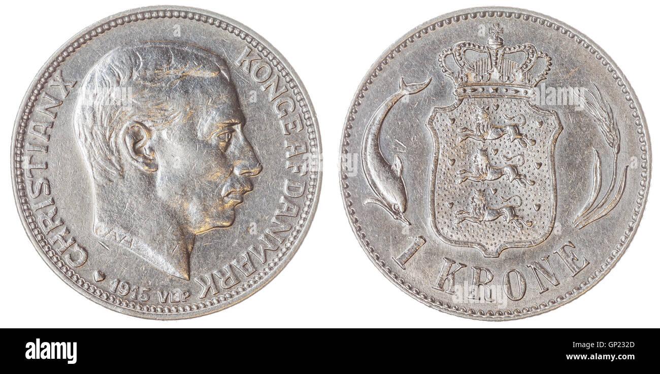 1 moneda de plata 1915 krone aislado sobre fondo blanco, Dinamarca Foto de stock