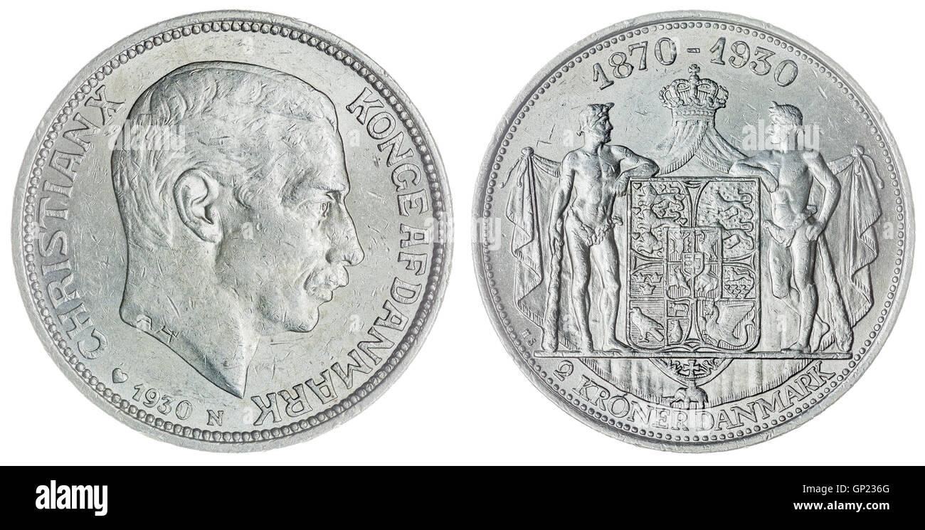 Plata 2 Krone 1930 coin aislado sobre fondo blanco, Dinamarca Foto de stock
