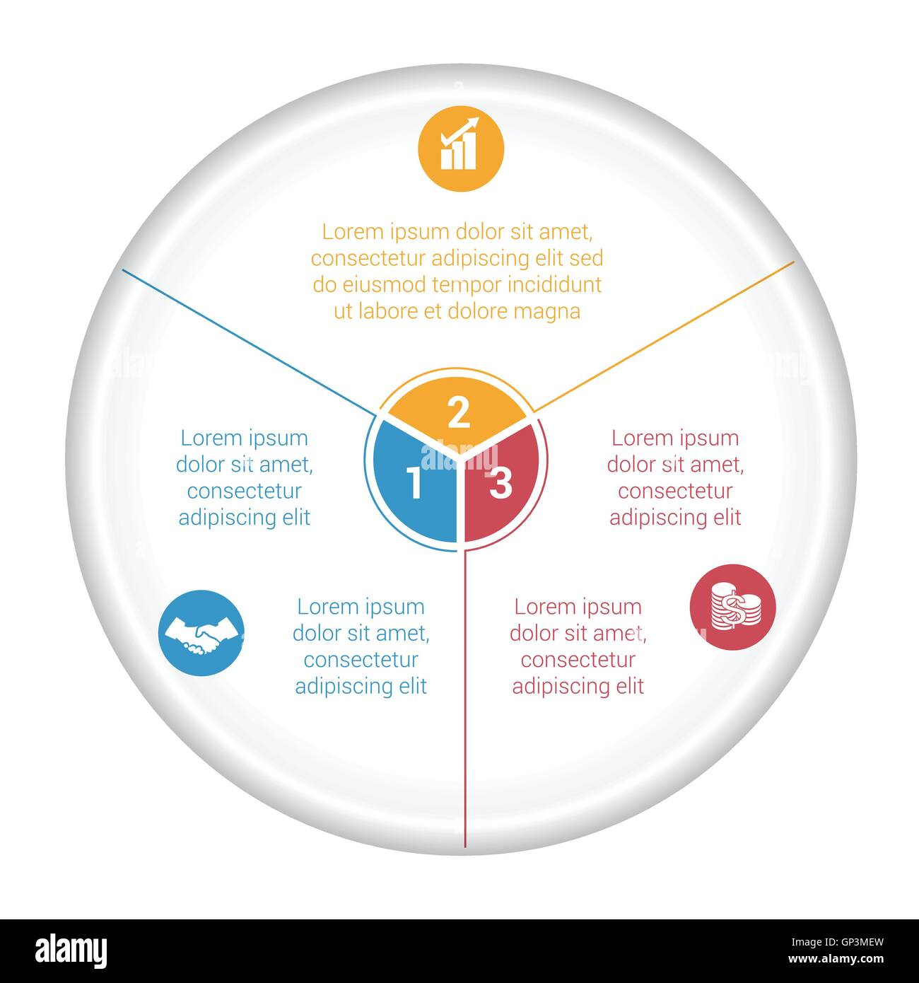 Datos del diagrama gráfico circular 3 opciones para el área de texto ...
