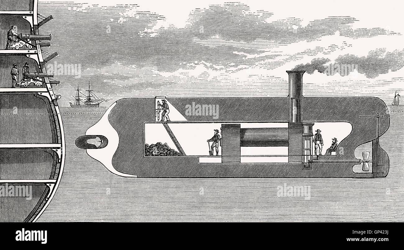 Submarino de un petardo bomb, del siglo XIX. Imagen De Stock