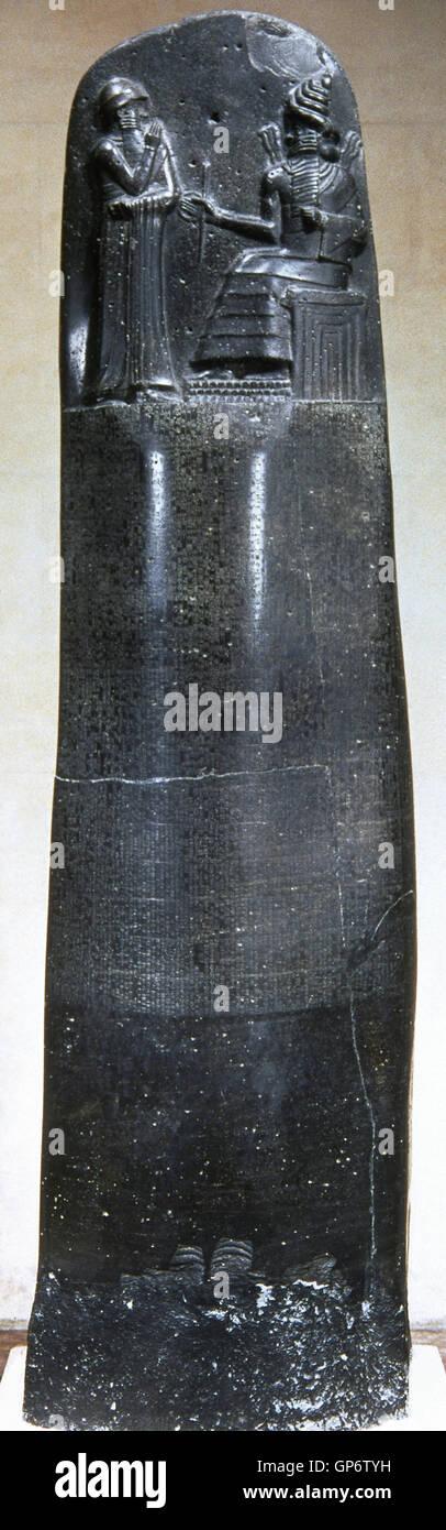 Mesopotamia. Código de Hammurabi. Código de derecho babilónico. 1754 BC. Lengua akadiana. Escritura Imagen De Stock