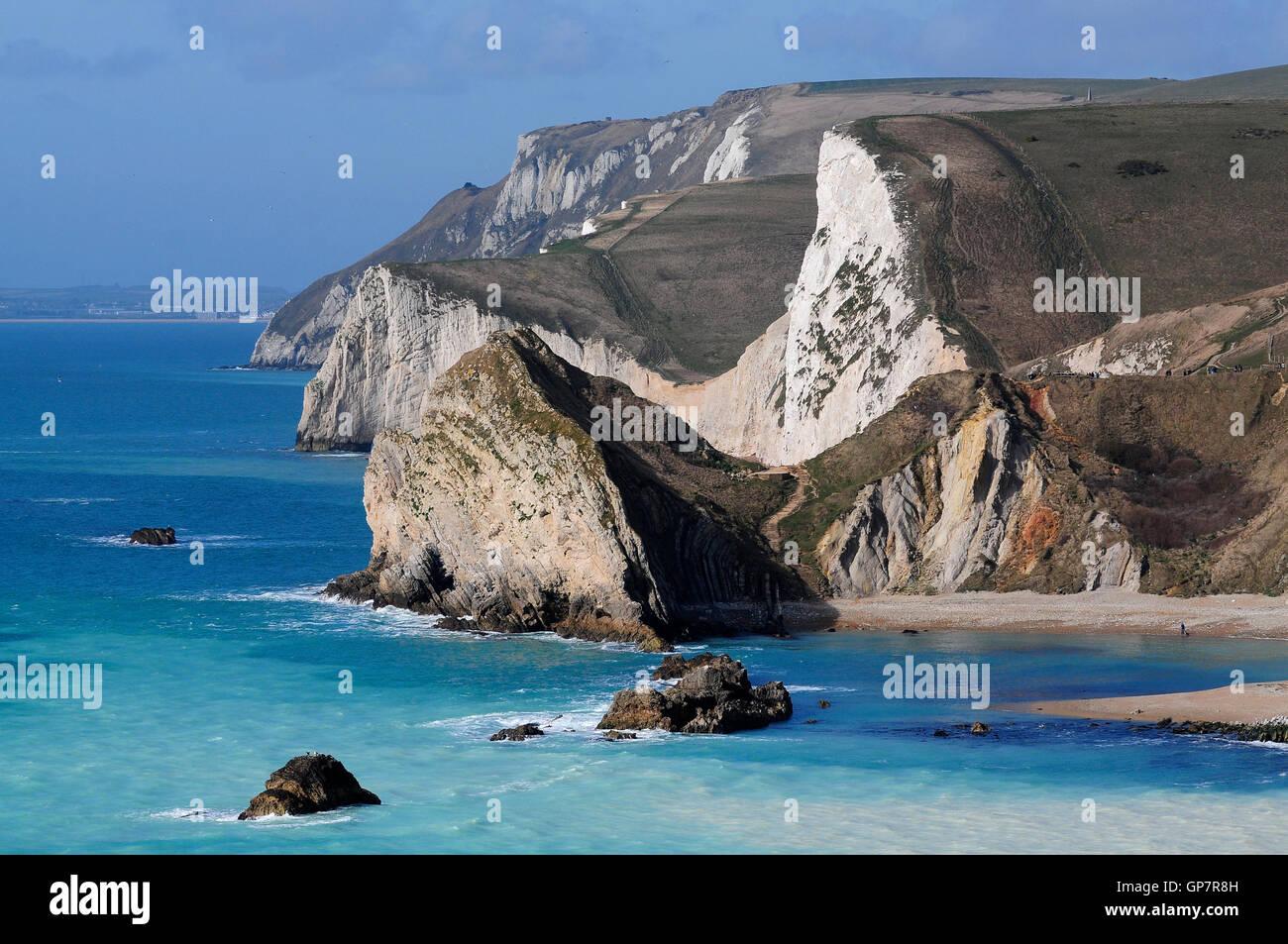Cabeza Swyre y Bat's head en la costa Jurásica de Dorset, Reino Unido Foto de stock