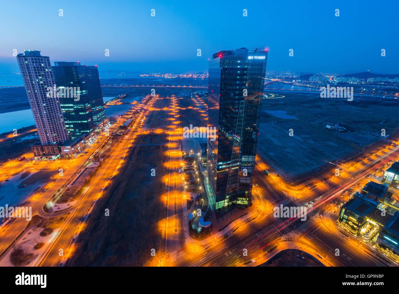 En la noche Centralpark Incheon, Corea del Sur Imagen De Stock